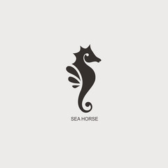 Fototapeta Stylized graphic Seahorse. Silhouette illustration of sea life. Sketch for tattoo on isolated white background. Vector flat logo icon