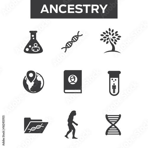 Photo Ancestry or Genealogy Icon Set with Family Tree Album, DNA, beakers, etc