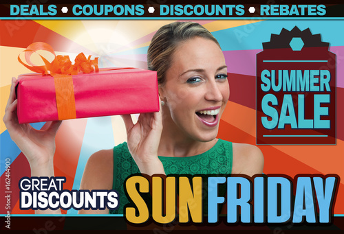 Fototapety, obrazy: abstract flyer for shopping on Sun Friday trade / Generic Brochure design template inviting shopping on Sun Friday trade