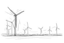 Wind Turbines Skyline Sketch. Vector.