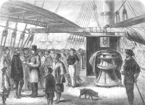 Valokuva  Taking the census on board ship 1861. Date: 1861