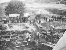American Settlers Cross The Oregon Region. Date: 1900