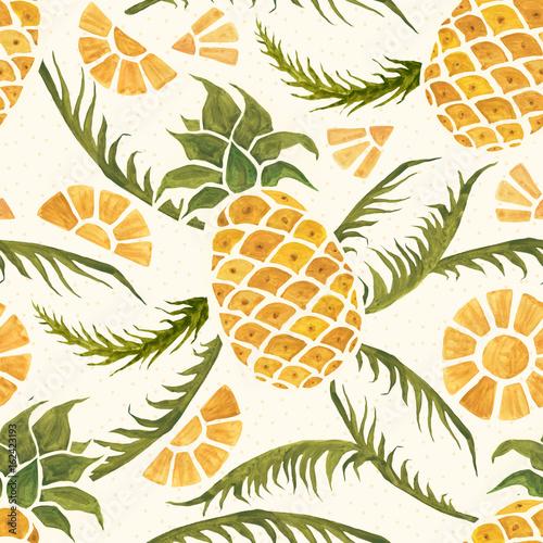 Naklejka dekoracyjna Tropikalny wzór z ananasem i liśćmi palmowymi