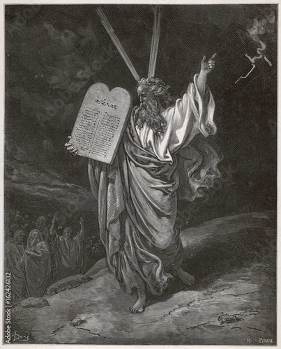 Photo Old testament Bible scene: Moses and the ten commandments