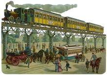 New York Elevated Railway- 4th Avenue. Date: Circa 1900