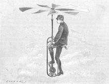 Unusual Transport: An Aerial Velocipede.. Date: 1888