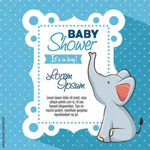 Fototapeta Baby Shower Boy Invitation Card Vector Illustration Graphic Design