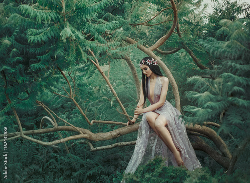 Foto  Fantasy girl in a fairy garden