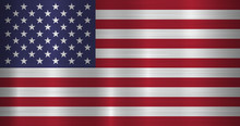 Metal USA, United States Of America Flag With Official Proportions And Colors, Polished, Brushed Texture, Chrome, Silver, Steel For Backgrounds, Wallpapers, Design, Web, Print. Vector Illustration.