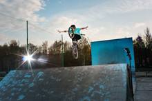 Extreme Biker Makes A Dangerous Stunt In The Summer Bmx Park