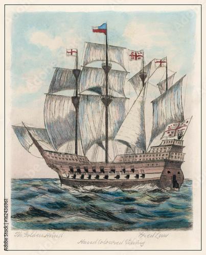Obraz na plátne Golden Hind - Fred Law. Date: 1577