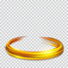 Golden glowing fire rings with glitters. Transparency only in vector format