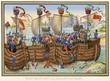 Leinwanddruck Bild - The Earl of Pembroke Attacked by Spanish Fleet. Date: 1372