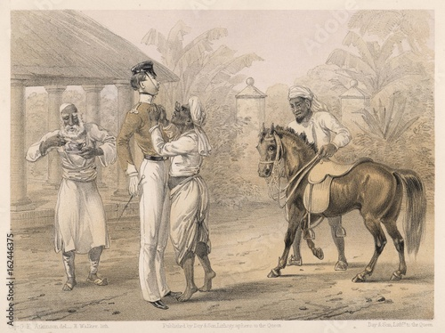 Preparing for riding in India 1860 British raj. Date: 1860 - Buy ...