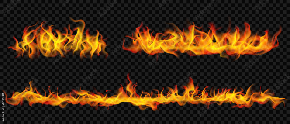 Fototapeta Long horizontal fire flame. Transparency only in vector format