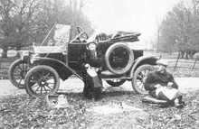 Model Ford T Car By The Roadside. Date: 1913