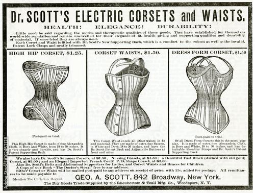 Advert for Dr Scott's electric corsets 1890. Date: 1890 Fototapeta