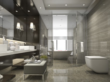3d Rendering Modern And Luxury Bathroom And Toilet