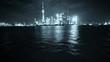 Shanghai bund at night,Brightly lit world financial center building.