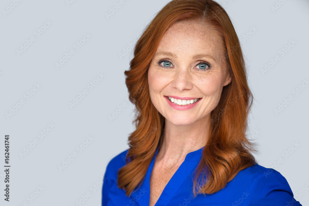 Fototapety, obrazy: Confident happy positive energetic lively older middle age woman, bright natural smile with red hair