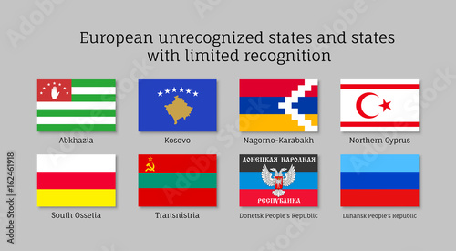 Photo European unrecognized and with unlimited recognition states waving realistic fla
