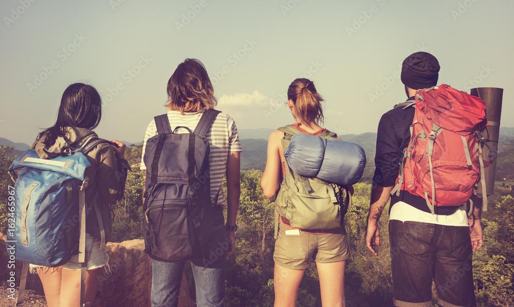 Fototapety, obrazy: Backpacker Camping Hiking Journey Travel Trek Concept