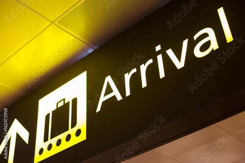 arrival sign in airport Wallpaper Mural