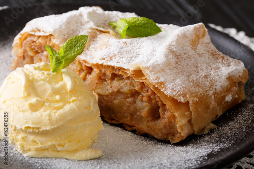 Valokuva  Austrian traditional apple strudel with ice cream and mint closeup