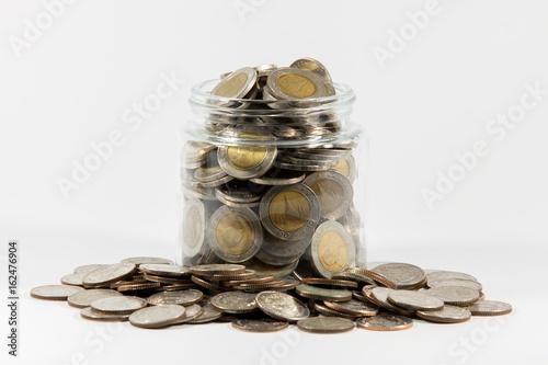 Zdjęcie XXL Przelewać się szklaną butelkę Tajlandzkie monety