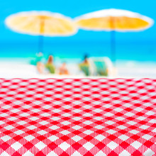 Red Checkered Table Cloth On B...