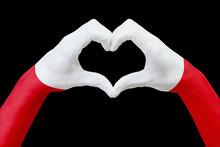 Hands Flag Of Poland, Shape A ...