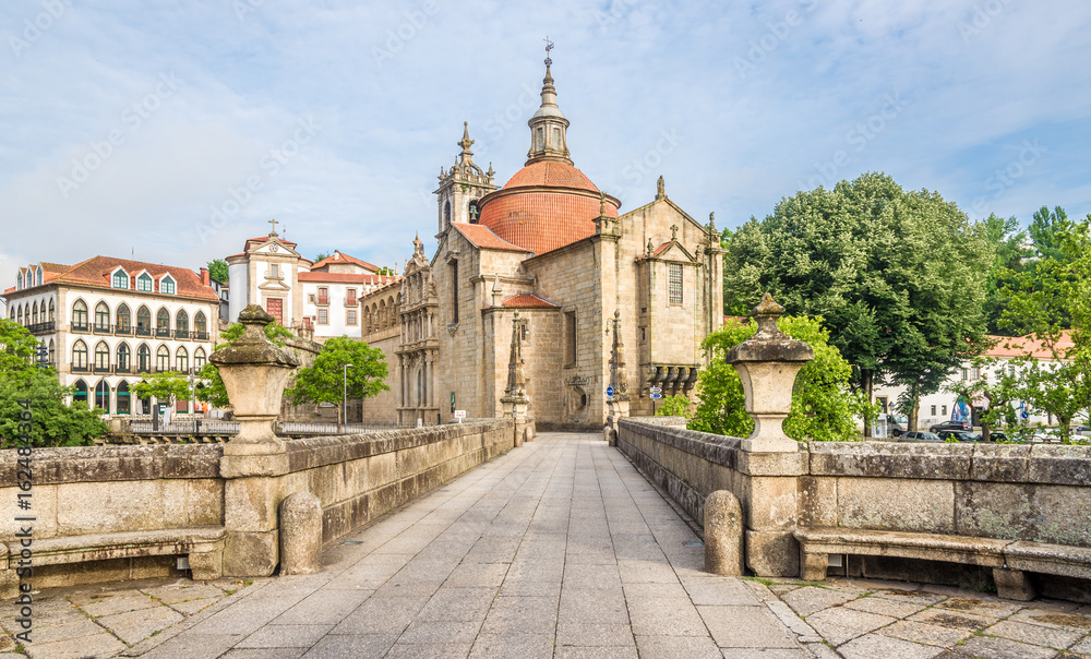 Fototapety, obrazy: View at the Sao Goncalo monastery through the Old bridge over the river Tamega in Amarante ,Portugal