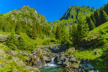Fototapeta na wymiar Beautiful scenery with a mountain river in the Fagarasi Mountains Romania