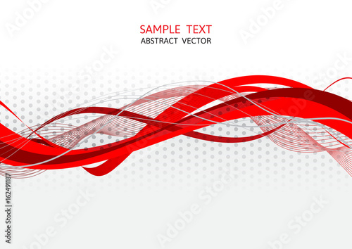 Poster Abstract wave Red and gray wave abstract vector