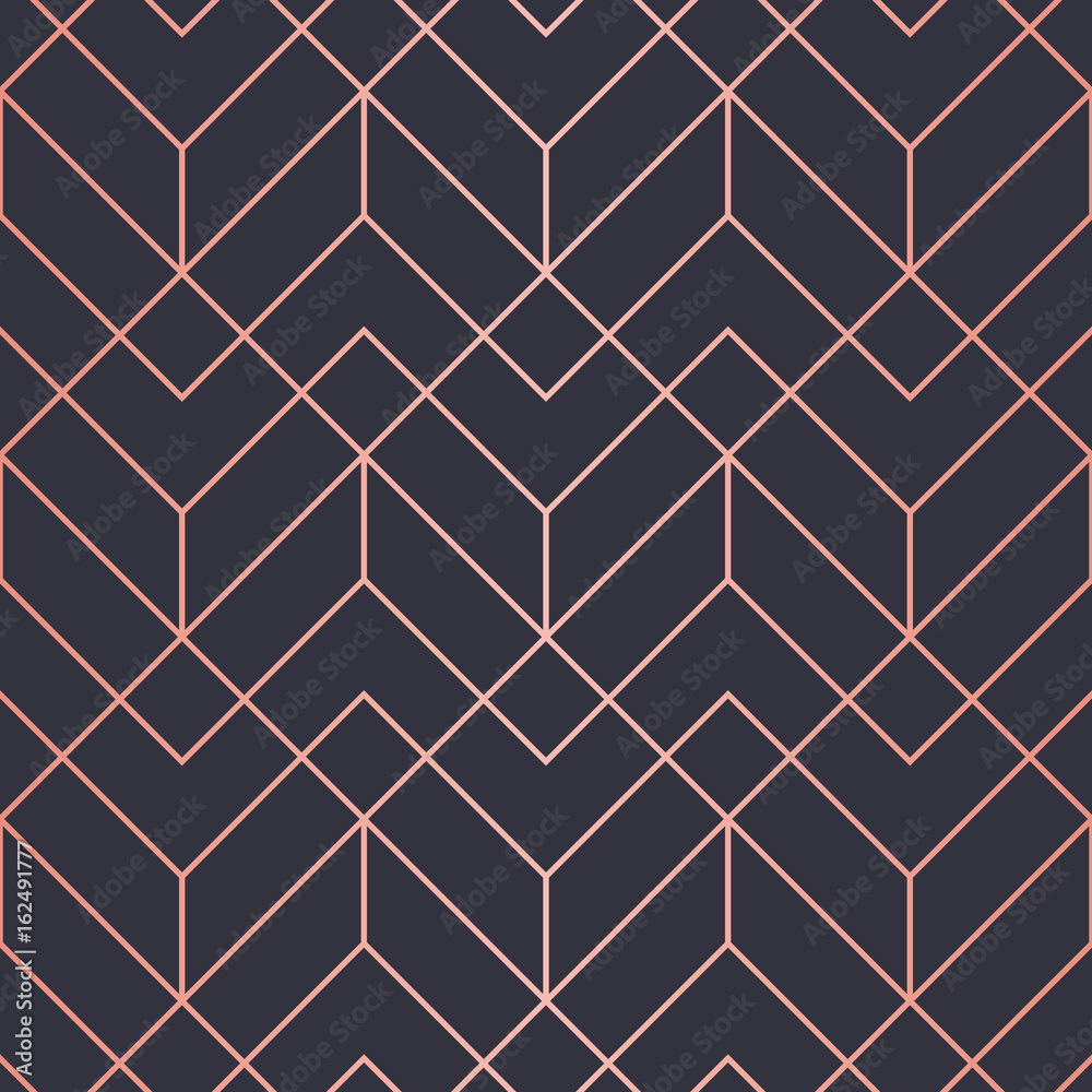 Fototapety, obrazy: Geometric pattern consisting of lines. Trendy Copper Metallic look.