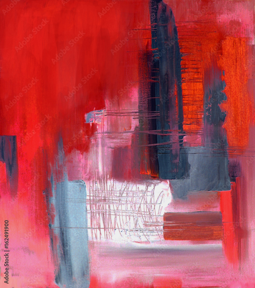 Abstract art in red and gray, original oil painting