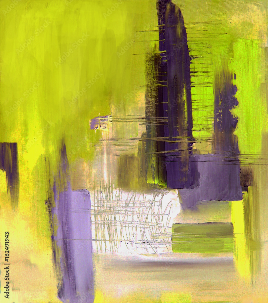 Abstract art in lime yellow and gray, original oil painting