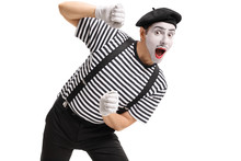 Mime Behind An Imaginary Panel