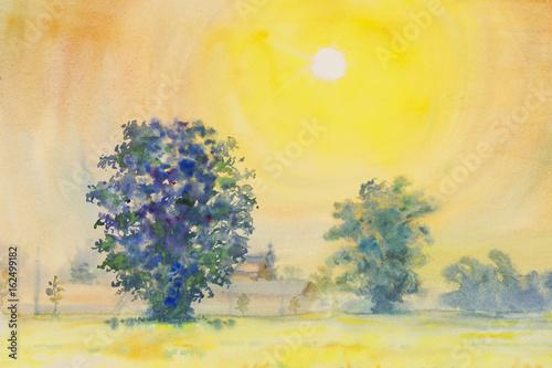 Plakat akwarela malarstwo żółty, pomarańczowy kolor wschód słońca w niebo i chmura tle oryginalny obraz
