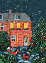 House At Night, With Snow, A Christmas Tree And Foxes