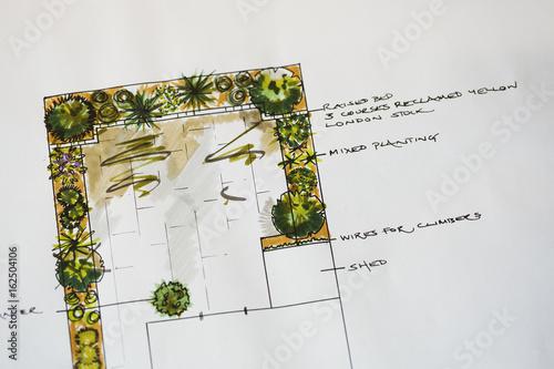 A drawing, a sketch of a garden design.
