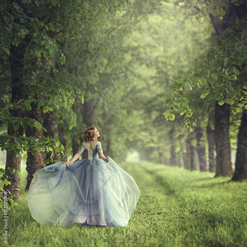 Fotomural Back view of standing young beautiful blonde woman in blue dress