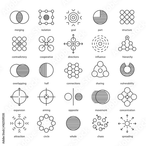 Abstract symbols linear icons set