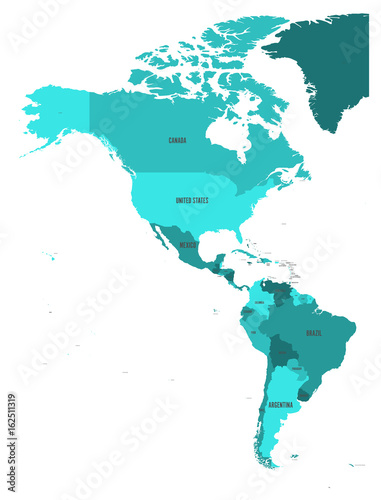Political map of Americas in four shades of turquoise blue on white background Wallpaper Mural