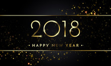 Vector 2018 New Year Black Background With Gold Glitter Confetti Splatter Texture.