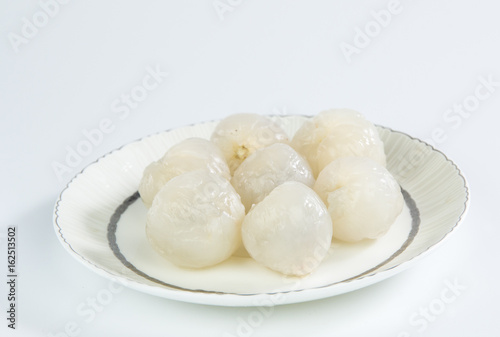 The Skinned litchi isolated on white background