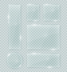 Fototapeta Transparent vector glass shapes. Abstract plastic banner design elements collection with transparency.