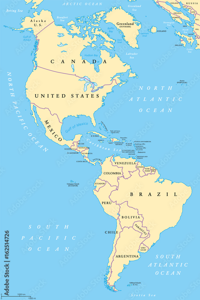graphic regarding Printable Map of North and South America known as Image Artwork Print The Americas, North and South The us