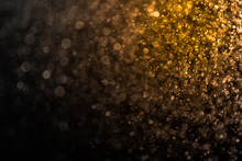 Abstract Gold Bokeh And Black Background, Golden Light Christmas
