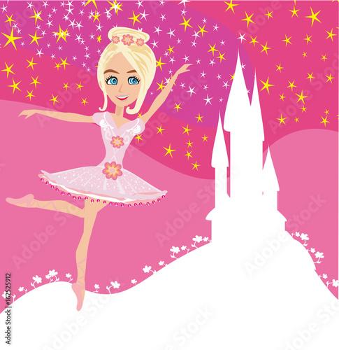Plakat Piękna balerina i magiczny zamek